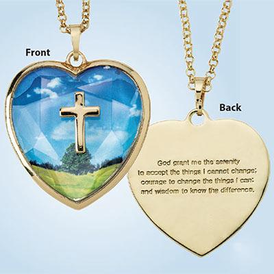 Heart Serenity Prayer Necklace