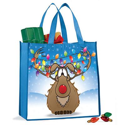 Christmas Lights Reindeer Tote