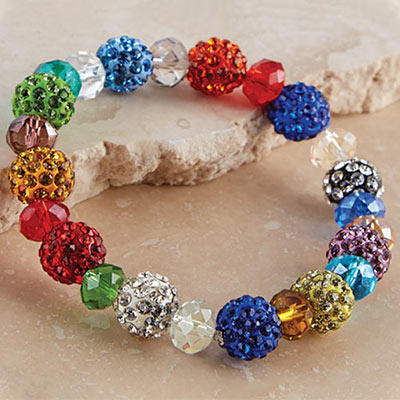 Colourful Pavé Stretch Bracelet