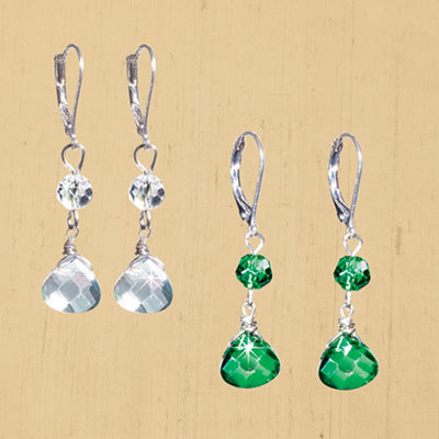Crystal Faceted Dangle Earrings