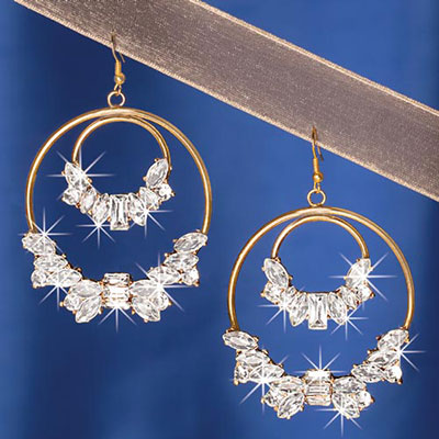 Double Blinged-Out Circle Earrings