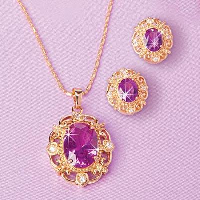 Faux Amethyst Jewellery Set