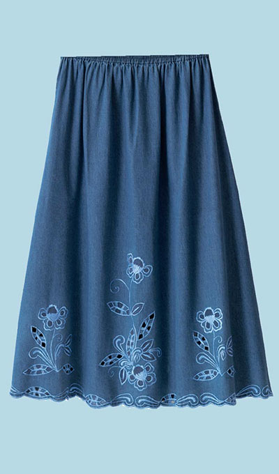 Denim Cutwork Skirt