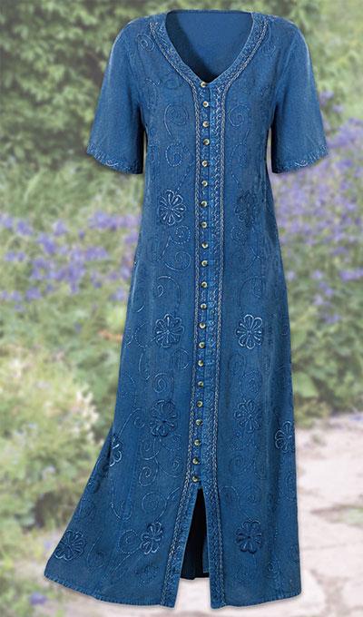 Embroidered Acid-Wash Dress