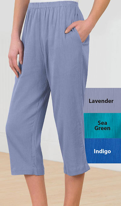 Crinkle Cotton Capri Pants