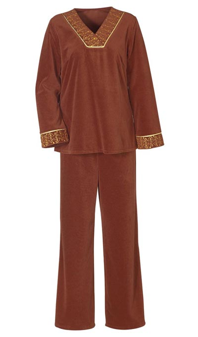 Embroidered Velour Pants Set