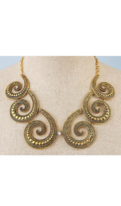 Antique Bronze Scroll Necklace