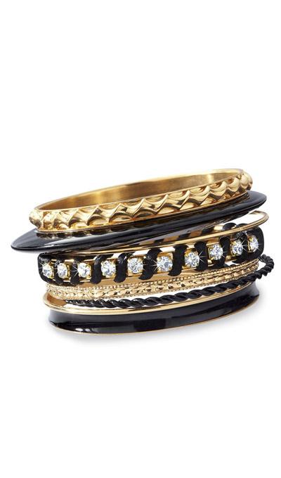 8-piece Black & Gold Bangles Set
