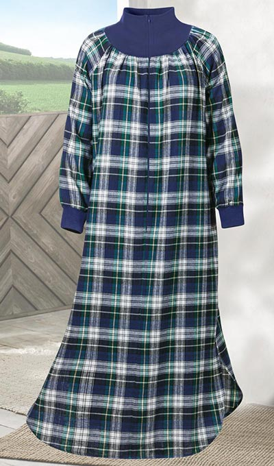 Blue Plaid Flannel Zip Robe
