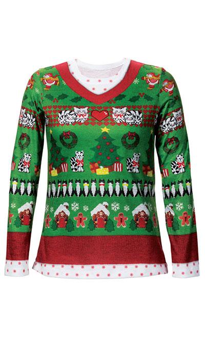 Christmas Cat Sweater Tee