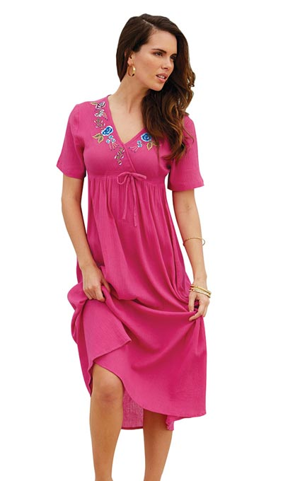 Festive & Floral Embroidered Dress