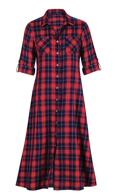 Plaid Button-Up Dress