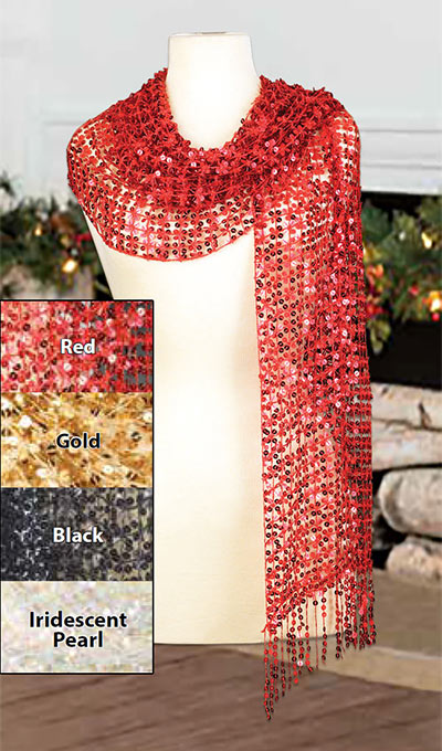 Red Sequined Scarf