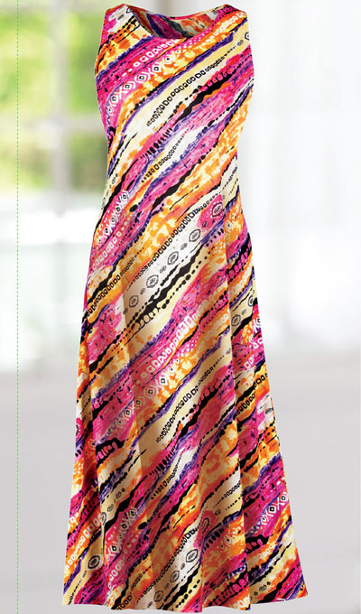 Slimming Asymmetrical Print Dress