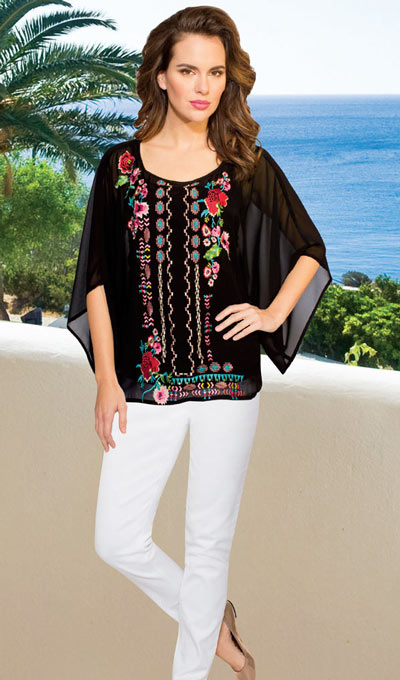 Flowery Embroidered Top
