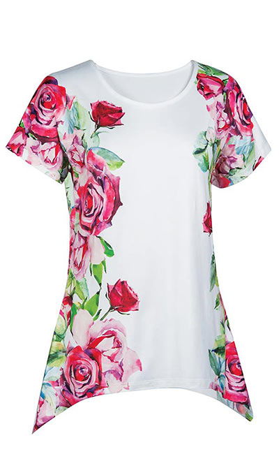 Red Roses Watercolour Top
