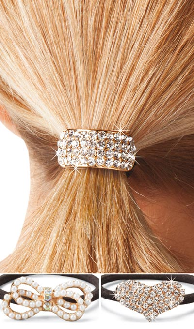 Blinged-Out Ponytail Holders