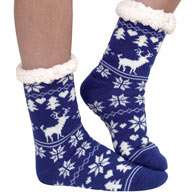 Blue Nordic Slipper Socks