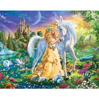 Princess And Unicorn At Twilight 200 Large Piece Jigsaw Puzzle
