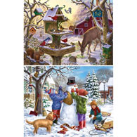 Set of 2: Winter Cheer 300 Large piece Jigsaw Puzzles