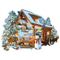 Winter Cabin 750 Piece Shaped Jigsaw Puzzle