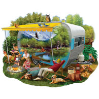 Camping Trip 300 Large Piece Shaped Jigsaw Puzzle