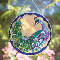 Peacock Art Glass Suncatcher