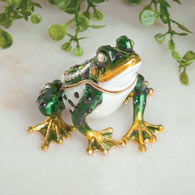 Jeweled Frog Trinket Box