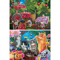 Set of 2: Playtime In The Garden and Farmhands 1000 Piece Jigsaw Puzzles