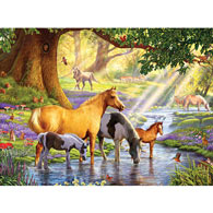 Horses By The Stream 500 Piece Jigsaw Puzzle