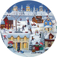Chimney Smoke And Cheery Folk 500 Piece Round Jigsaw Puzzle