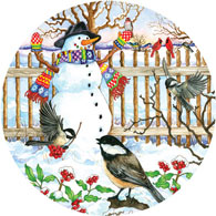 Gathering Around The Snowman 300 Large Piece Round Jigsaw Puzzle