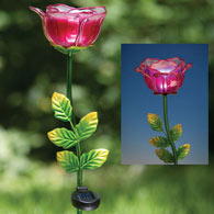 Glass Solar Rose Stake