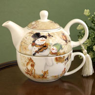 Snowman Tea For One Porcelain Set