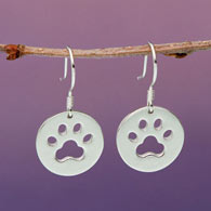 Sterling Silver Paw print Earrings
