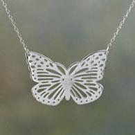 Sterling Butterfly Lace Necklace