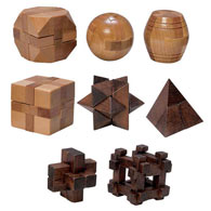 Set of 8: Classic Mini Wooden Brainteasers