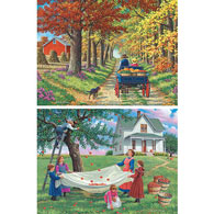Set of 2 Pre-Boxed: John Sloane 500 Piece Fall Jigsaw Puzzles