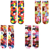 Set of 4 : Sweet Treats Colorful Printed Crew Socks Collection