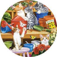 Garden Shed Kittens 300 Large Piece Round Jigsaw Puzzle