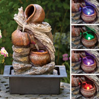 Cascading LED Pottery Fountain