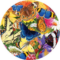 Butterfly Morning 500 Piece Round Jigsaw Puzzle