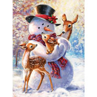 Snowman And Fawn 1000 Piece Glitter Effects Jigsaw Puzzle