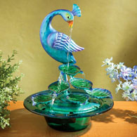 Glass Peacock Water Fountain