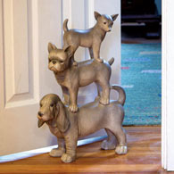Three Stacked Pups Animal Doorstopper Sculpture