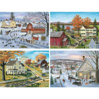 Set of 4: Bob Fair 300 Large Piece Jigsaw Puzzles