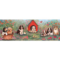 Puppy Doghouse 1000 Piece Panoramic Jigsaw Puzzle