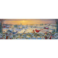 Winter Porch Chatter 500 Large Piece Panoramic Jigsaw Puzzle