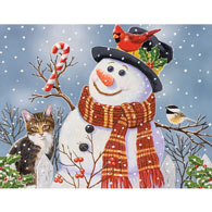 Snowman And Kitten 500 Piece Jigsaw Puzzle