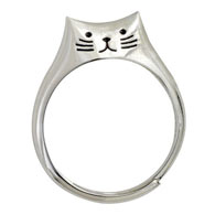 Sweet Sterling Cat Ring - Medium